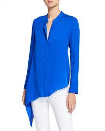Elie Tahari Asifa Button-Down Long-Sleeve Asymmetric Silk Blouse at Neiman Marcus