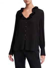 Elie Tahari Azra Silk Button-Down Long-Sleeve Blouse at Neiman Marcus