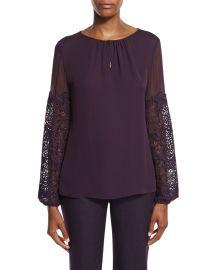 Elie Tahari Brianna Long-Sleeve Silk Blouse w  Lace Appliqu  233 at Neiman Marcus