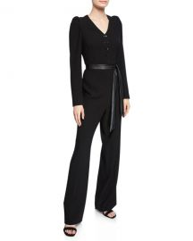 Elie Tahari Campbell Long-Sleeve Jumpsuit with Sash Belt at Neiman Marcus