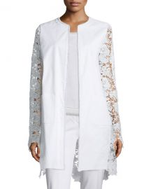 Elie Tahari Canvas  amp  Lace Long Topper Jacket at Neiman Marcus