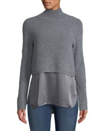 Elie Tahari Casper Turtleneck Long-Sleeve Cashmere Sweater w  Silk Cami at Neiman Marcus