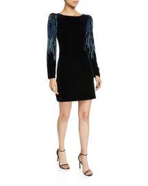 Elie Tahari Chantal Velvet Long-Sleeve Short Dress with Embellishment at Neiman Marcus