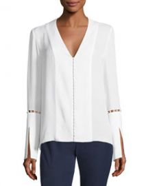 Elie Tahari Deb Long-Sleeve Pearly-Trim Silk Chiffon Blouse at Bergdorf Goodman