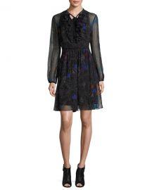Elie Tahari Desi Tie-Neck Floral Silk Chiffon Dress at Neiman Marcus