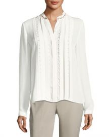 Elie Tahari Fontaine Long-Sleeve Pleated Beaded Blouse at Neiman Marcus