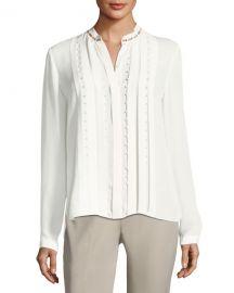Elie Tahari Fontaine Long-Sleeve Pleated Beaded Blouse at Neiman Marcus