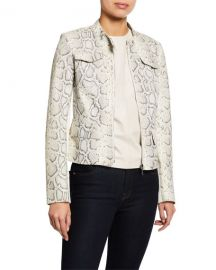 Elie Tahari Gwen Zip-Front Snake-Print Lambskin Leather Jacket at Neiman Marcus