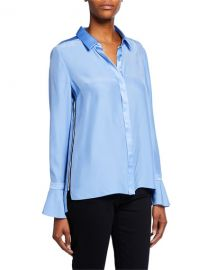Elie Tahari Heather Button-Down Silk Blouse at Neiman Marcus