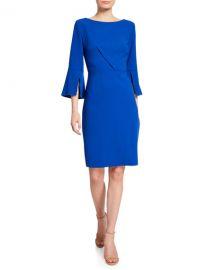 Elie Tahari Isla Bell-Sleeve Sheath Dress at Neiman Marcus