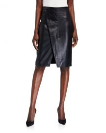 Elie Tahari Jade Faux-Leather Wrap Front Skirt at Neiman Marcus