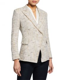 Elie Tahari Jezebel Button-Front Tweed Jacket at Neiman Marcus