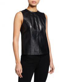 Elie Tahari Kai Sleeveless Leather Ponte Blouse at Neiman Marcus
