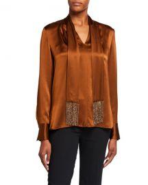 Elie Tahari Kendal Long-Sleeve Silk Blouse w  Beaded Fringe Scarf at Neiman Marcus