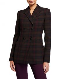 Elie Tahari Launie Plaid Double-Breasted Jacket at Neiman Marcus
