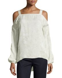 Elie Tahari Lindy Cold-Shoulder Silk Blouse  Twine at Neiman Marcus