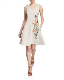 Elie Tahari Londa V-Neck Sleeveless Fit-and-Flare Linen Dress at Neiman Marcus