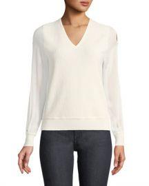 Elie Tahari Maria Chiffon-Sleeve Sweater at Neiman Marcus