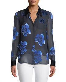 Elie Tahari Martha Floral-Burnout Blouse at Neiman Marcus