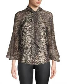 Elie Tahari Matilda Leopard-Print Silk Blouse at Neiman Marcus