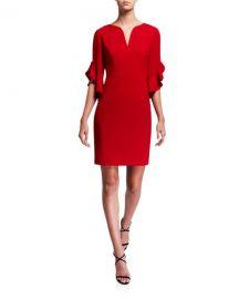 Elie Tahari Natanya V-Neck Ruffle-Sleeve Sheath Dress at Neiman Marcus