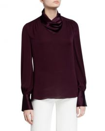Elie Tahari Nathalie Mock-Neck Long-Sleeve Silk Satin  amp  Chiffon Blouse at Neiman Marcus