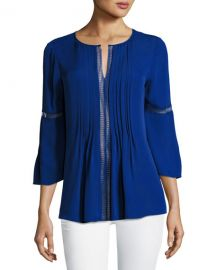 Elie Tahari Orion Bell-Sleeve Silk-Georgette Blouse at Neiman Marcus