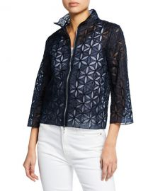 Elie Tahari Rainer Zip-Front Floral-Patterned Cropped Jacket at Neiman Marcus