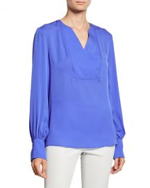Elie Tahari Reva V-Neck Blouson-Sleeve Silk Blouse at Neiman Marcus