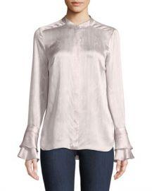 Elie Tahari Safiya Silk Button-Front Blouse at Neiman Marcus