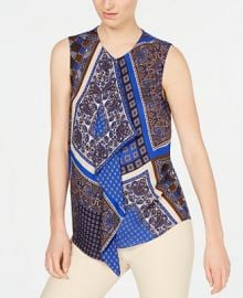 Elie Tahari Scarf-Print Sleeveless Blouse    Reviews - Women - Macy s at Macys