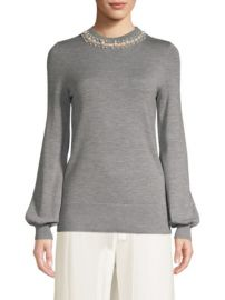 Elie Tahari Shahar Pearl Neck Sweater at Saks Fifth Avenue