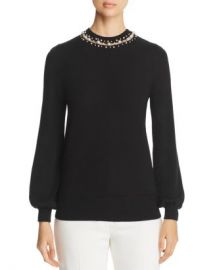 Elie Tahari Sharar Faux-Pearl Neck Sweater Women - Bloomingdale s at Bloomingdales