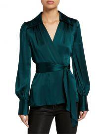 Elie Tahari Shay Long-Sleeve Silk Satin Wrap Blouse at Neiman Marcus