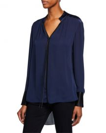 Elie Tahari Shree V-Neck Long-Sleeve High-Low Silk Blouse at Neiman Marcus