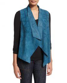 Elie Tahari Stormy Suede Hanky Vest blue at Neiman Marcus