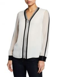 Elie Tahari Vallie Zip-Front Long-Sleeve Blouse with Contrast Trim  amp  Cuffs at Neiman Marcus
