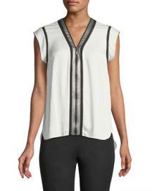 Elie Tahari Vallie Zip-Front Silk Blouse at Neiman Marcus