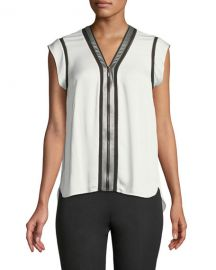 Elie Tahari Vallie Zip-Front Silk Blouse at Neiman Marcus
