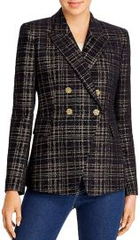 Elie Tahari Womens Jezebel Metallic Plaid Double-Breasted Blazer at Amazon