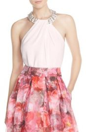 Eliza J Beaded Crepe Top blush at Nordstrom