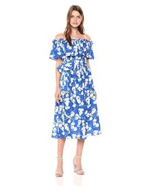 Eliza J Women s Floral Off The Shoulder Midi Dress at Amazon