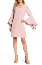 Eliza J Bell Sleeve Crepe Shift Dress  Regular   Petite at Nordstrom