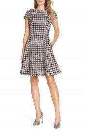 Eliza J Cap Sleeve Fit  amp  Flare Dress  Regular  amp  Petite at Nordstrom