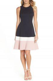 Eliza J Colorblock Texture Knit Fit  amp  Flare Dress  Regular  amp  Petite    Nordstrom at Nordstrom