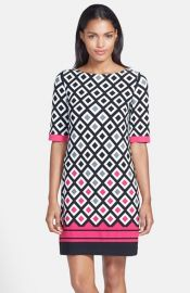 Eliza J Diamond Print Jersey Shift Dress at Nordstrom