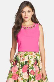Eliza J Embellished Faille Top Pink at Nordstrom