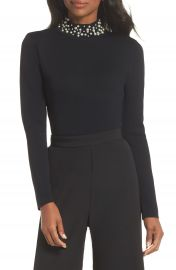 Eliza J Faux Pearl Embellished Mock Neck Sweater at Nordstrom
