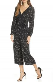 Eliza J Faux Wrap Crop Jumpsuit at Nordstrom