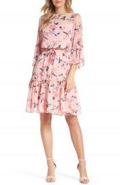 Eliza J Floral Bell Sleeve Chiffon Dress  Regular  amp  Petite at Nordstrom